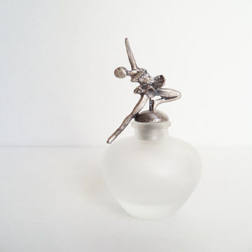 Vintage Perfume Bottle Frosted Glass Ice Skater Ballerina Collectibles Gift Idea For Her
