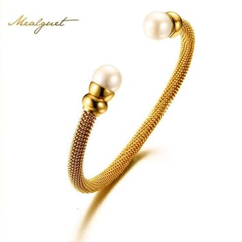 Meaeguet Oval Simulated Pearls Wire Open Bangles 3 Colors Stainless Steel Fashion Cuff Bracelets Jewelry Dia 59MM