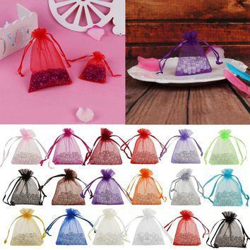 50PCS Organza Jewelry Gift Drawable Box Wedding Gift Candy Pouch Bag 7x9cm
