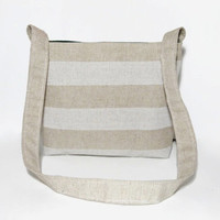 SALE - Small Beige and Cream Tote Bag, Small Striped Diaper Bag, Eco-friendly Shoulder Bag, Natural Linen Accessory, Bohemian Tote Bag