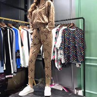 """LOUIS VUITTON""Woman's Leisure Fashion Letter Personality Printing Spell Color Zipper Long Sleeve Elastic Band Trousers Two-Piece Set Casual Wear"