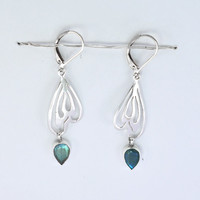Classic Design Labradorite Gemstone Silver Earring,Fashions Jewelry, Gift, Holiday,Handmade jewelry