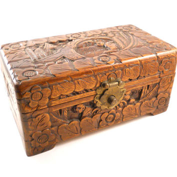 Vintage Ornate Antique Wood Hand Carved Chinese Asian Box Jewelry Trinket Chest