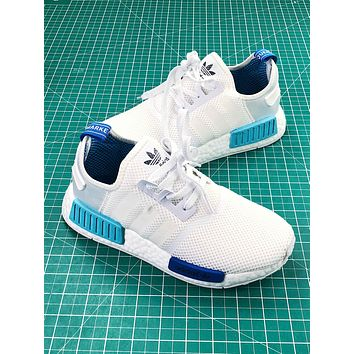 Adidas Nmd R1 Pk Boost White Blue Sport Running Shoes
