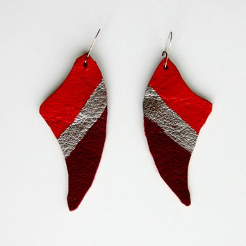 Leather earrings, Red silver earrings, abstract earrings, deep crimson red & silver, fashion red coral red