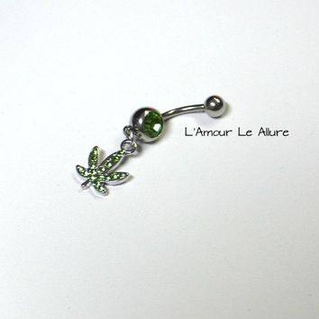Green Stone Belly Button Ring Navel Body Piercing Gift Present