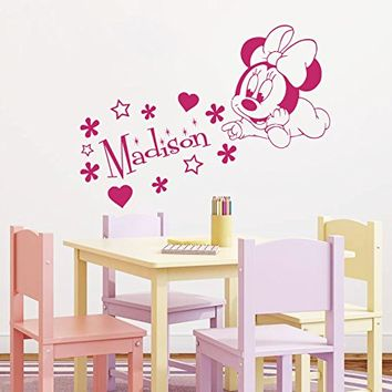 Wall Decals Custom Name Baby Minnie Mouse Personalized Name Nursery Kids Boys Girls Disney Head Mice Ears Mickey Mouse Wall Vinyl Decal Stickers Bedroom Murals