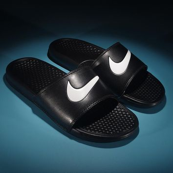 New Nike Benassi Swoosh Slide cheap Men's and women's nike Slippers Beach shoes-1686248855