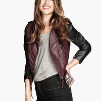 Wine Red Lapel Stitching Faux Leather Long-Sleeved Biker Jacket