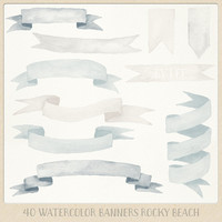 Watercolor clipart banner ribbons (40 pc) beige and greyish blue naturals hand painted for logo design, blogs, cards printables wall art etc