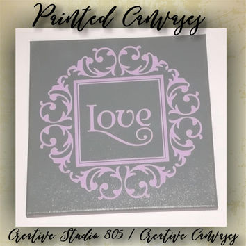 "Love Medallion| decorated canvas | wall hanging | wall decor | inspiring quotes on canvas | 12"" x 12"""