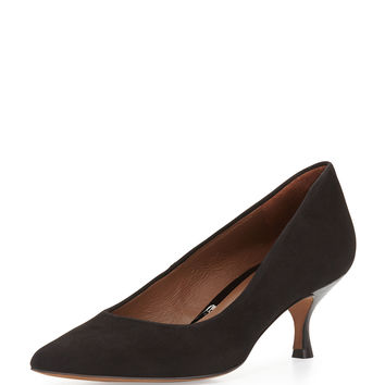 Rome Suede Low-Heel Pump, Black - Donald J Pliner