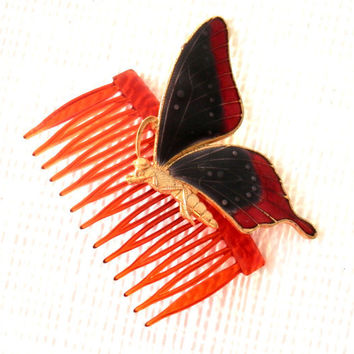 Retro Enameled Monarch Butterfly Hair Comb Accessory Cobalt Blue and Brown