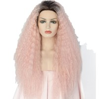 Jordyn- Glueless Heat Resistant Hair Kinky Curly Two Tone Color Black Omber Pink Hand Tied Makeup Synthetic Lace Front Wig
