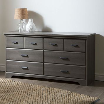 Bedroom 6-Drawer Double Dresser in Grey Maple Finish