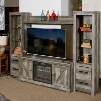 Ashley Furniture W440-68-24-24-27 4 pc Wynnlow rustic gray finish wood tv entertainment center