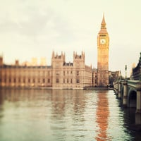 Good Morning London - London Photograph, Big Ben, Westminster, River Thames, Gold,  Clock Tower, Romantic Travel Photography