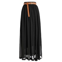 Broadfashion Women's Vintage Pleated Long Chiffon Maxi Boho Beach Skirt Dress (Watermelon)