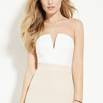 V-Notched Strapless Top
