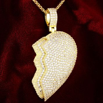 Double Layer Iced Out 3D Gold Finish Broken Heart Piece Pendant
