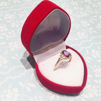 Vintage Fine 9K Yellow Gold Oval Amethyst Diamond Ring Size N purple ring gift engagement wedding for her