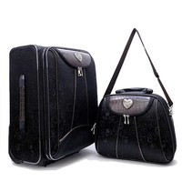 Two Piece Black and Brown Heart Rolling Luggage Set