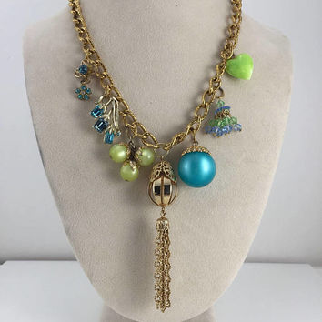 Tassel Necklace, Teal, Green, Aqua, Reclaimed Vintage Jewelry, Fruit Punch, Charms, OOAK, Assemblage, Statement