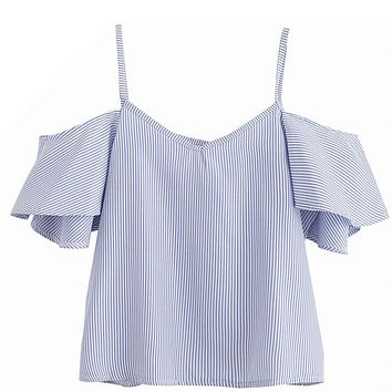 Women Casual Blouses Shirts Tops Ladies Blue Pinstripe Cute Ruffle Slip Short Sleeve Cold Shoulder Fashion V Neck Top