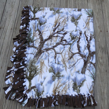 Winter Camouflage, Fleece Lap Throw, Fleece Blanket, Sofa Throw, Hand Tied Fringe, Quilts and Blankets