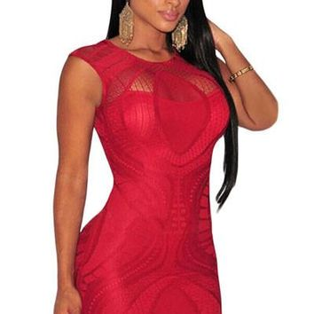 Chicloth Red Optical Lace Nude Illusion Sleeveless Bodycon Dress