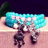 6mm Amazonite Stone 108 Prayer Beads Bracelet for Meditation ~ ॐ