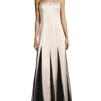Strapless Sheer-Inset Gown, Champange/Black, Size: