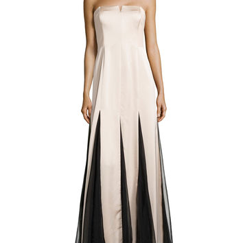 Strapless Sheer-Inset Gown,