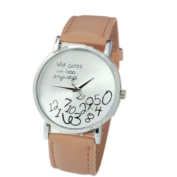 """""""Who Cares I'm Late Anyways"""" Women's Beige Creative Fashion Faux Leather Quartz Watch"""