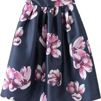 Black Flare Midi Skirt with Purple Floral Print