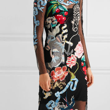 Temperley London - Sail embroidered embellished Swiss-dot tulle dress