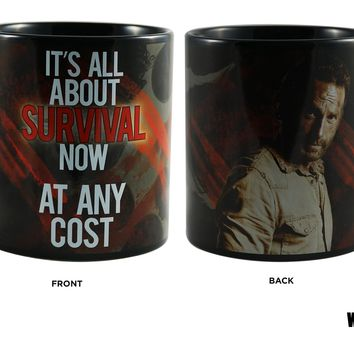 "The Walking Dead OFFICIAL Rick Grimes ""It's All About Survival Now At Any Cost"" Ceramic Coffee Mug, 20oz"