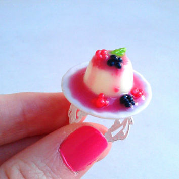 Pannacotta and berries  polymer clay miniature by BiteMeNot