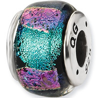 Reflection Beads Silver Blue Points Dichroic Glass Bead