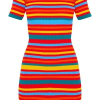 Rainbow Striped Knitted Short Sleeve Dress