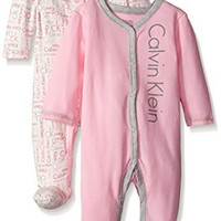 Calvin Klein Baby-Girls Newborn 2 Packs Sleep Stretches Pink and Gray, Multi, 3-6 Months