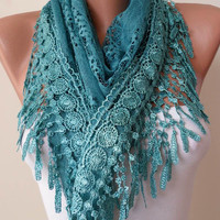 Turqouise Color and Lace Shawl / Scarf with Lace by SwedishShop