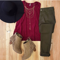 Jessie Suede Top - Burgundy