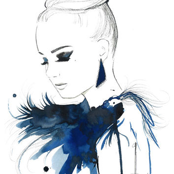 Original Watercolor, China Marker and Pen Fashion Illustration, Jessica Durrant - Bird of Paradise