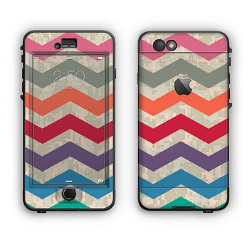 The Retro Chevron Pattern with Digital Camo Apple iPhone 6 Plus LifeProof Nuud Case Skin Set