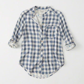Womens Mandarin Plaid Shirt | Womens New Arrivals | Abercrombie.com