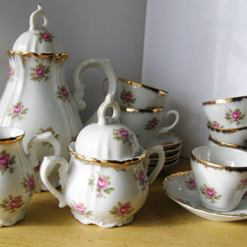Girl's Porcelain Tea Set, Vintage Japan, Child Size Tea Set with Pink Roses