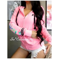 Victoria's Secret pink tropical full zip hoodie