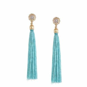 ONETOW Crystal Silk Tassel Fringe Dangle Earrings