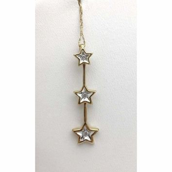 3 Star Diamond Drop Pendant Necklace - 2 Tone Gold - 10k Gold Star Charm by Luxinelle® Jewelry